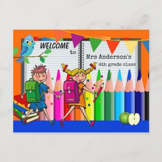Colorful Welcome Back to School Postcard