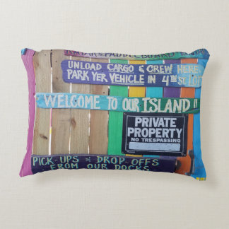 Colorful welcome island sign accent pillow