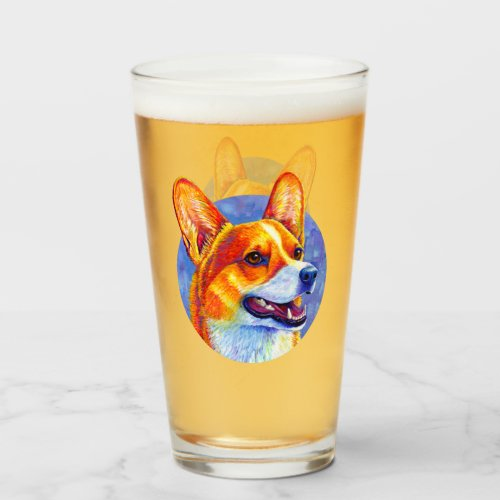 Colorful Welsh Corgi Cute Dog Drinking Glass Cup