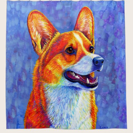 Colorful Welsh Corgi Dog Shower Curtain