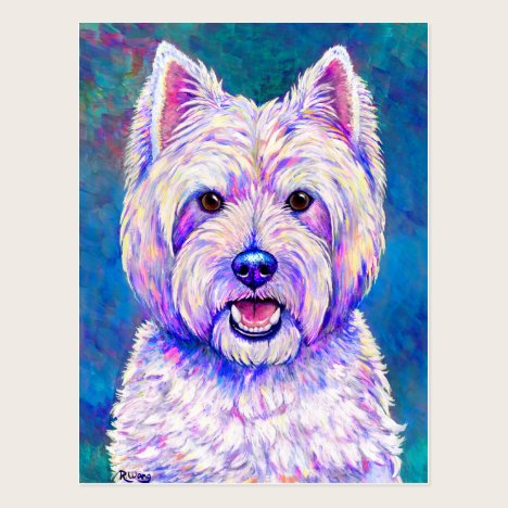 Colorful West Highland White Terrier Dog Postcard