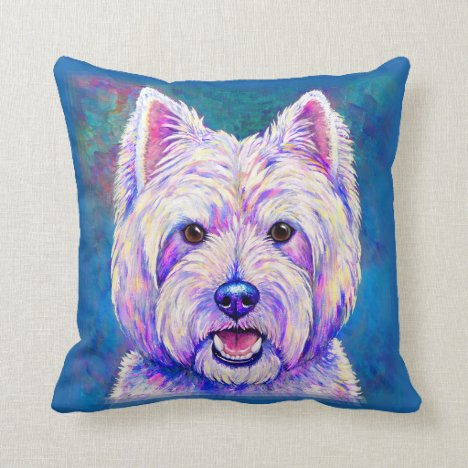 Colorful West Highland White Terrier Throw Pillow