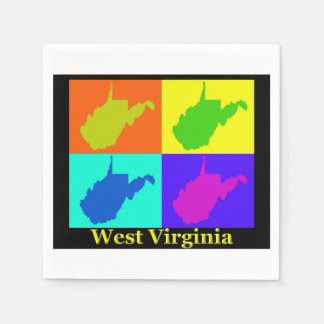 Colorful West Virginia Pop Art Map Napkin
