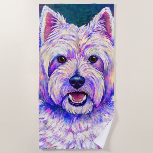 Colorful Westie Dog White Terrier Beach Towel