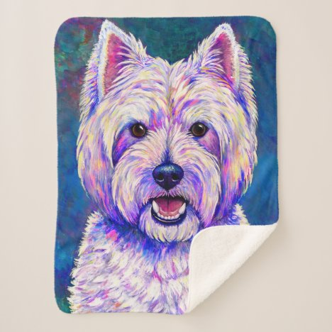 Colorful Westie Dog White Terrier Sherpa Blanket