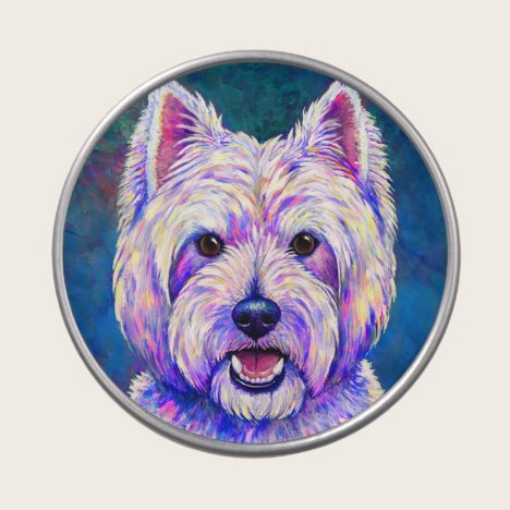 Colorful Westie Terrier Dog Candy Tin