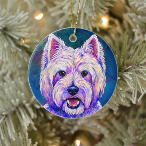 Colorful Westie Terrier Dog Ceramic Ornament