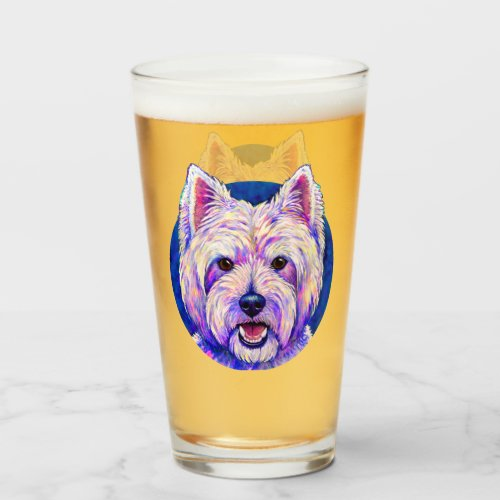 Colorful Westie Terrier Dog Glass Cup