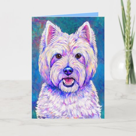 Colorful Westie Terrier Dog Greeting Card