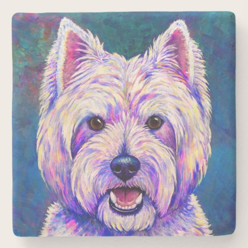 Colorful Westie Terrier Dog Stone Coaster