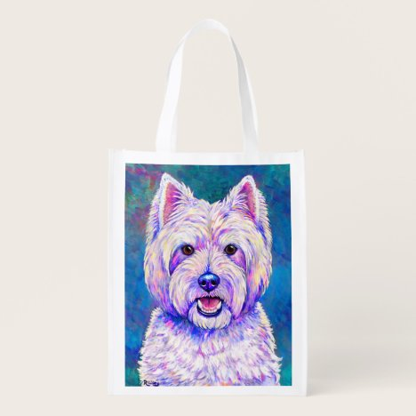 Colorful Westie White Terrier Dog Grocery Bag