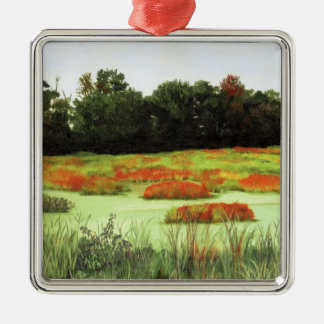 Colorful Wetlands Square Metal Christmas Ornament