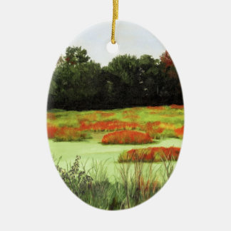 Colorful Wetlands Double-Sided Oval Ceramic Christmas Ornament