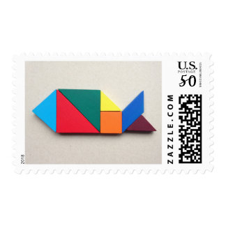 Colorful whale Tangram Postage