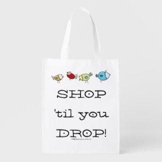 Colorful Whimsical Birds Grocery Bag