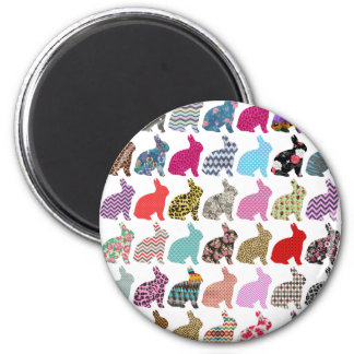 Colorful Whimsical Bunny Chevron Zigzag Pattern Magnet