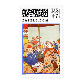 Colorful Whimsical Carousel Pony Horse Stamps