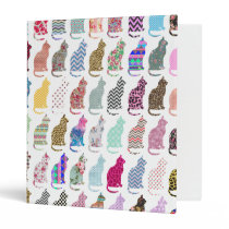 Colorful Whimsical Cats Chevron Zigzag Pattern Binder