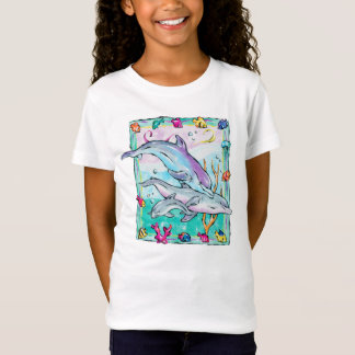 Colorful, whimsical dolphins t-shirt