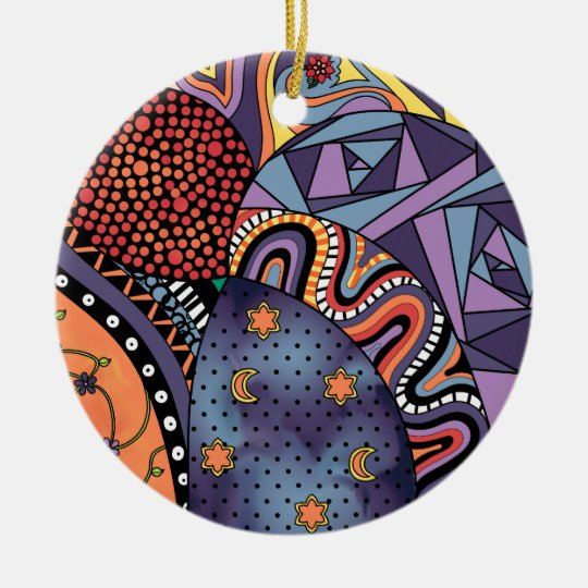 Colorful Whimsical Doodle Abstract Pattern Ceramic Ornament