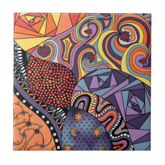 Colorful Whimsical Doodle Abstract Pattern Ceramic Tile