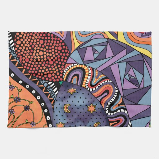 Colorful Whimsical Doodle Abstract Pattern Kitchen Towels