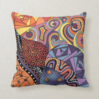 Colorful Whimsical Doodle Abstract Pattern Pillow