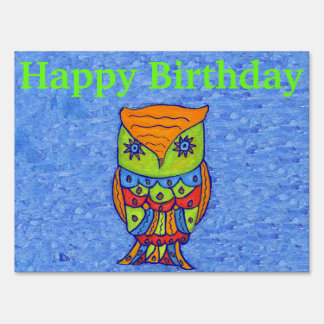 colorful Whimsical Fantasty Birthday Owl Star Eyes Lawn Sign