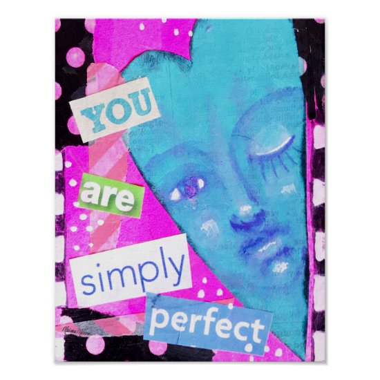 Colorful Whimsical Heart Collage Art Fun Colorful Poster