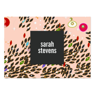 Colorful Whimsical Pattern Pink Fashion and Beauty Large Business Cards (Pack Of 100)