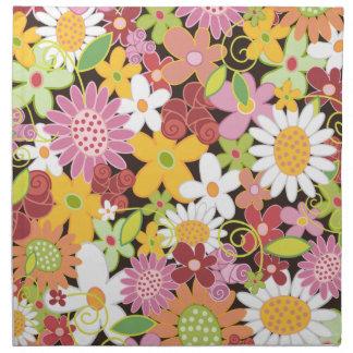 Colorful Whimsical Spring Flowers Garden Napkin