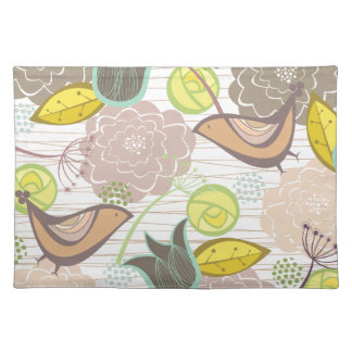Colorful Whimsical Spring Flowers Garden Placemat Cloth Place Mat