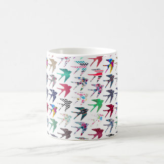 Colorful whimsical  swallow birds pattern coffee mug