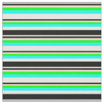 [ Thumbnail: Colorful  White, Black, Tan, Lime & Cyan Lines Fabric ]