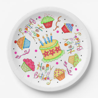 Colorful White Cupcakes and Cake Happy Birthday 9 Inch Paper Plate