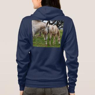 Colorful_White_Horses_Ladies_Blue_Fleece_Hoodie. Hoodie