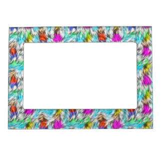 Colorful White Leopard Fur Pattern Magnetic Photo Frame