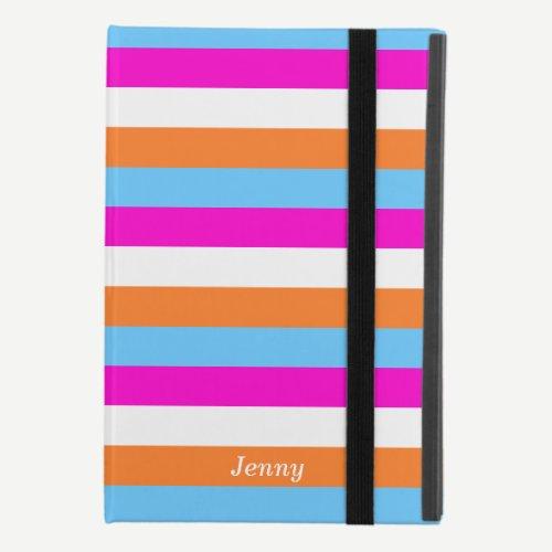 Colorful White Pink Blue Orange Stripe Line Custom iPad Mini 4 Case