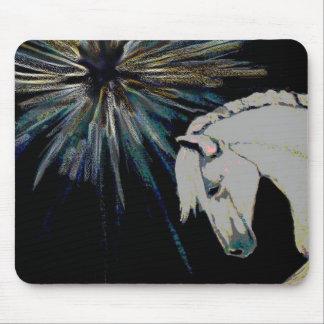 Colorful White Stallion Horse Burst Mousepad