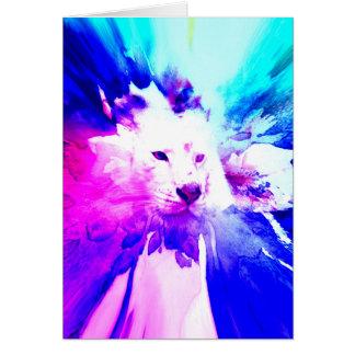 colorful White Tiger Grunge Greeting Card