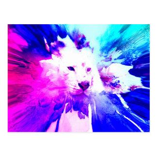 colorful White Tiger Grunge Postcard