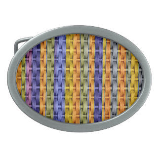 Colorful wicker retro graphic design belt buckle