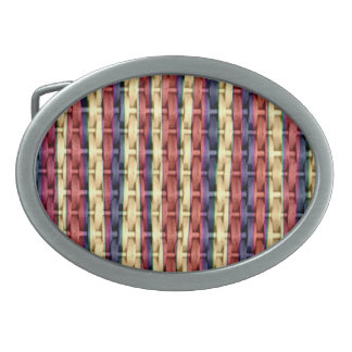 Colorful wicker retro graphic design oval belt buckle
