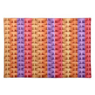 Colorful wicker retro stripes graphic design placemat