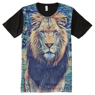 Colorful Wild African Lion Fantasy Art All-Over-Print T-Shirt