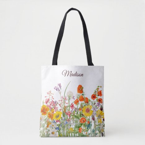 Colorful Wild Flowers Pretty Girly Personalized Tote Bag