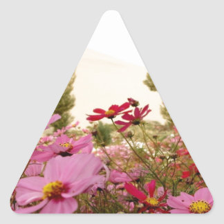 Colorful wild flowers triangle sticker