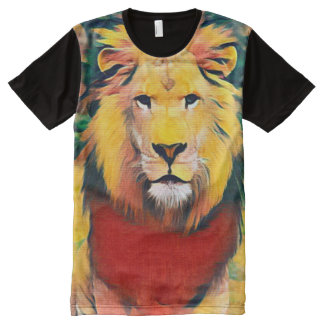 Colorful Wild Lion Minimalist Acrylic Paint All-Over-Print Shirt