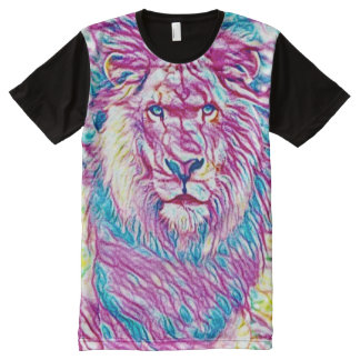 Colorful Wild Lion Visual Medium Art All-Over-Print Shirt