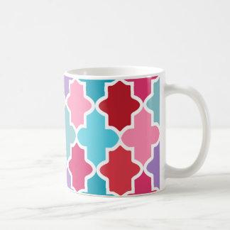 Colorful Wild Quatrefoil Moroccan Classic White Coffee Mug